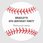 "Personalized Kids Baseball Birthday Classic Round Sticker<br><div class=""desc"">Personalized kids baseball birthday party bag stickers,  the round sticker being a baseball with the classic red stitching at the top and bottom,  plus your own wording in the middle.</div>"