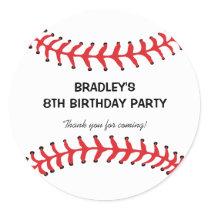 Personalized Kids Baseball Birthday Classic Round Sticker
