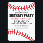 "PERSONALIZED KIDS BASEBALL BIRTHDAY INVITATION<br><div class=""desc"">Personalized kids baseball birthday invitations,  the card being a baseball design with the classic red stitching at the top and bottom,  plus your party details.</div>"