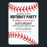 """PERSONALIZED KIDS BASEBALL BIRTHDAY INVITATION<br><div class=""""desc"""">Personalized kids baseball birthday invitations,  the card being a baseball design with the classic red stitching at the top and bottom,  plus your party details.</div>"""