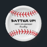 "PERSONALIZED KIDS BASEBALL BIRTHDAY PLATES<br><div class=""desc"">Baseball kids birthday paper plates with the paper plate being a baseball including the classic red stitching at the top and bottom,  then add your details in the middle.</div>"