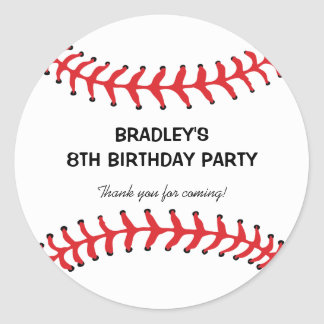PERSONALIZED KIDS BASEBALL BIRTHDAY STICKERS