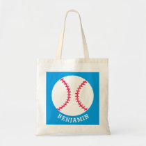Personalized Kids Baseball Sports Blue Sport Tote Bag