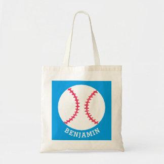 Personalized Kids Baseball Sports Blue Sport Tote Bag