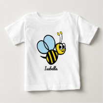 Personalized Kids Bee Cute Yellow Bumblebee Girls Baby T-Shirt