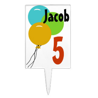 Personalized Kids Birthday Balloons Cake Topper