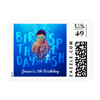 Personalized Kids' Birthday Pool Party Stamps