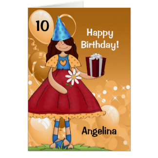 Personalized Kid's Birthday with Age for a Girl Card