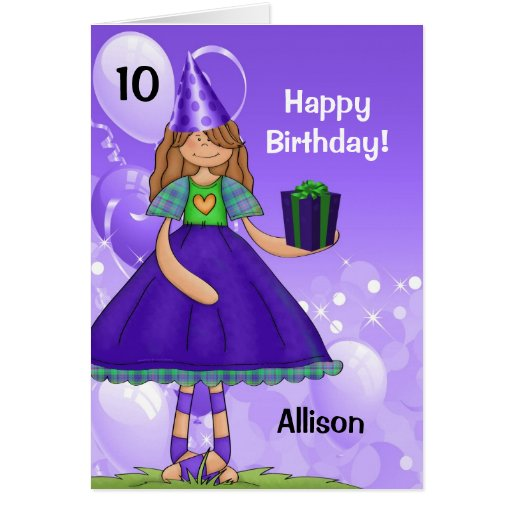 Personalized Kid's Birthday with Age for a Girl Cards