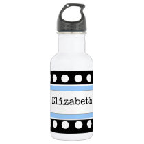Personalized kids black and blue water bottle