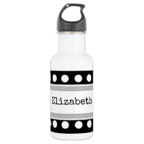 Personalized kids black and gray stainless steel water bottle
