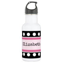Personalized kids black and pink water bottle