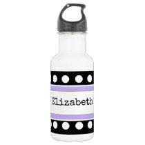 Personalized kids black and purple water bottle