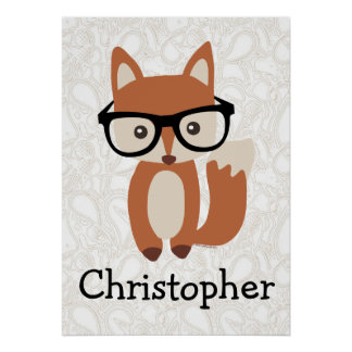 Personalized Kids Boys Name Baby Fox w/Glasses Poster