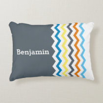 Personalized Kids Chevron Gray Blue Orange Yellow Accent Pillow