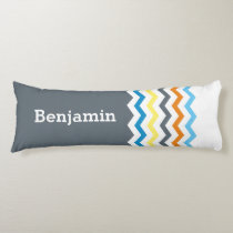 Personalized Kids Chevron Gray Blue Orange Yellow Body Pillow