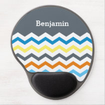 Personalized Kids Chevron Gray Blue Orange Yellow Gel Mouse Pad