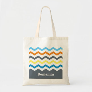 Personalized Kids Chevron Gray Blue Orange Yellow Tote Bag