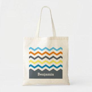 Personalized Kids Chevron Gray Blue Orange Yellow Tote Bag