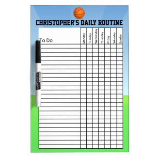 Personalized Kid's Chore/Daily Routine Chart Dry-Erase Board