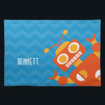 "Personalized Kids Crazy Orange Robot Blue Chevron Cloth Placemat<br><div class=""desc"">Personalized crazy orange robot children&#39;s place mat for meal time. Kids blue chevron cloth place mat with silly orange robot peeking out from the corner. Personalize with name in white font. Fun robot themed kid friendly graphics. Great gift for robot lovers. Check out matching plate and other robot themes.</div>"