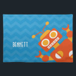 """Personalized Kids Crazy Orange Robot Blue Chevron Cloth Placemat<br><div class=""""desc"""">Personalized crazy orange robot children&#39;s place mat for meal time. Kids blue chevron cloth place mat with silly orange robot peeking out from the corner. Personalize with name in white font. Fun robot themed kid friendly graphics. Great gift for robot lovers. Check out matching plate and other robot themes.</div>"""