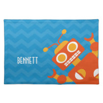 Personalized Kids Crazy Orange Robot Blue Chevron Cloth Placemat