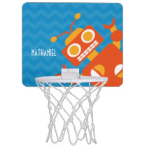 Personalized Kids Crazy Orange Robot Blue Chevron Mini Basketball Hoop