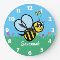Personalized Kids Cute Bee Garden Bumblebee Large Clock
