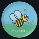 """Personalized Kids Cute Bee Garden Bumblebee Melamine Plate<br><div class=""""desc"""">Personalized Kids Cute Bee Garden Bumblebee Melamine Plate. Girls black and yellow bumblebee flying in a blue sky with green grass with flowers. Personalize with name in white pretty script. Great personalized gifts for girls who love bumblebees and garden themes.</div>"""