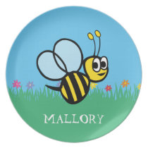 Personalized Kids Cute Bee Garden Bumblebee Melamine Plate