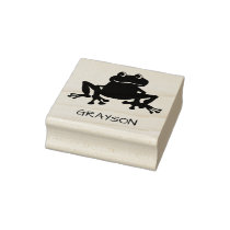 Personalized Kids Cute Frog Toad Rubber Stamp