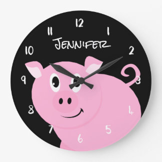 Personalized Kids Cute Pink Pig Farm Animal Large Clock