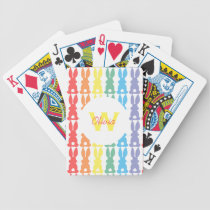 Personalized Kids Cute Rainbow Bunny Silhouette Bicycle Playing Cards