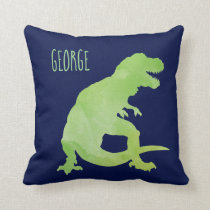 Personalized Kids Dinosaur Green Blue Watercolor Throw Pillow