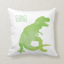 Personalized Kids Dinosaur Green Watercolor Boys Throw Pillow