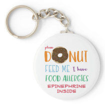 Personalized Kids Donut Feed Me Food Allergy Keychain