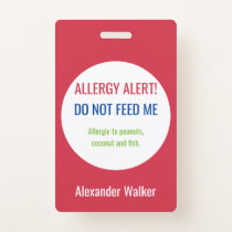 Personalized Kids Food Allergy Alert Customized Badge