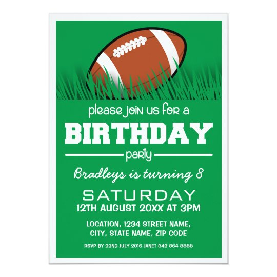 personalized kids football birthday invitation