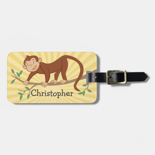 Personalized Kids Luggage Tag with Cute Monkey
