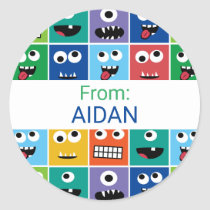Personalized Kids Monster Party Custom Thank You Classic Round Sticker