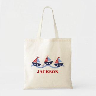 Personalized Kids Nautical Tote Bag