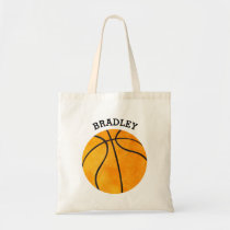Personalized Kids Orange Basketball Sports Boys Tote Bag
