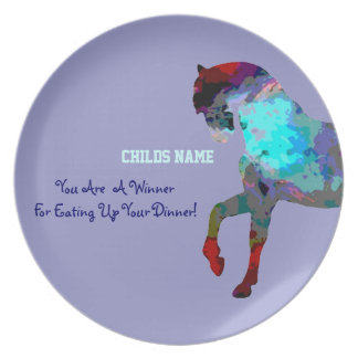 Personalized Kids Picky Eaters Plate - Blue Horse