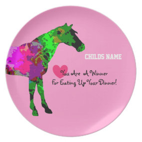 Personalized Kids Picky Eaters Plate - Cute Horse
