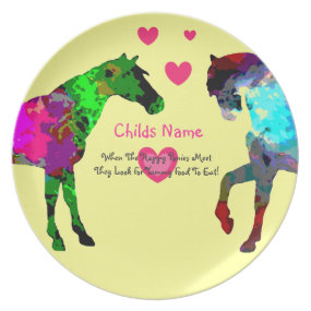 Personalized Kids Picky Eaters Plate - Cute Horses