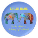 Personalized Kids Picky Eaters Plate -Elephants