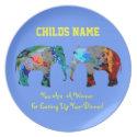 Personalized Kids Picky Eaters Plate -Elephants