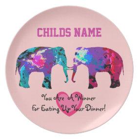 Personalized Kids Picky Eaters Plate - Elephants2