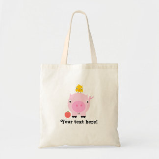 Personalized Kids Pig Tote Bag